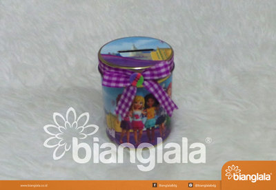 celengan kaleng lego friends ungu