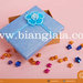gift box biru hiasan bunga